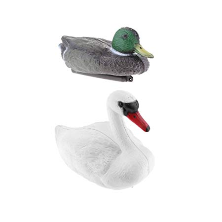 MonkeyJack 2x Plastic Floating Swan&Duck Decoy for Hunting &Fishing Garden Scarecrow
